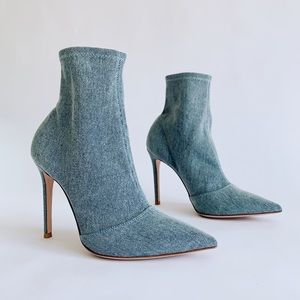 ⭕️ GIANVITO ROSSI Denim Ankle Boots Pointy Heels
